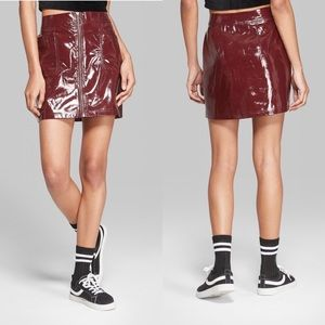 Wild Fable Burgundy Zip Front Patent Leather Skirt